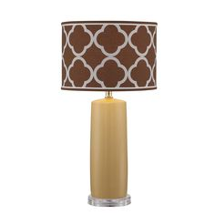 The Cora has a grey and brown Moroccan shade design and a golden base. Warm up your space's style with this great piece. #livingroomdecor #homeaccessories #homedecor