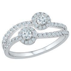 5/8 CT. T.W. Round White Diamond Prong Set Two Stone Ring in 10K White Gold (I2-I3/I-J) - (6), Women's