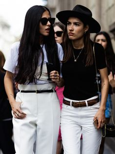 black & white. #GildaAmbrosio & #PatriciaManfield in Milan.