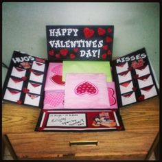 This was a valentines day box I did for my boyfriend who is deployed over seas. The envelopes are filled with hugs and kisses (memories or motivational saying). If you have any question or want some ideas on what to create feel free to email me at Care2BCustom@gmail.com
