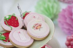 Strawberry Tea party, pretty china, pretty cupcakes, strawberry macarons and a gorgeous 8th Birthday party for my daughter who loves strawberrry Shortcake Birthday Party Ideas | Photo 36 of 44