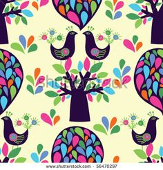 seamless background with trees and birds by suoksy, via Shutterstock