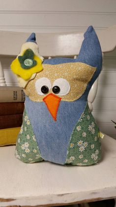 Owl Pillow -Stuffed Owl - Plush Owl - Denim Owl - Whimsical Owl - Owl Toy…