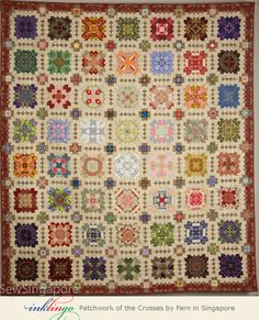 Inklingo Patchwork of the Crosses by Fern in Singapore. Fern's stunning quilt has been selected by the jury as a finalist in the Houston Quilt Festival! See more at http://www.lindafranz.com/blog/lucy-boston-patchwork-of-the-crosses-in-houston/