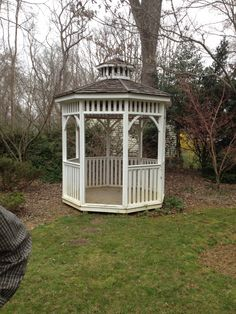 my fiance is making a gazebo for us to be married on, which he will finish with a roof and rails and put in in our yard later on