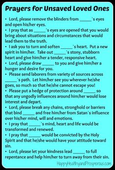 Prayers for Unsaved Loved Ones...learn more about how/what to pray and what to expect:
