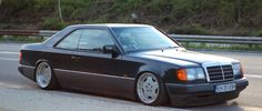 "This European Mercedes Benz W124 Coupe is slammed on a nive set of 17"" AMG Aero…"