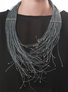 Multi-strand necklace made with electricity wire, contemporary jewellery design // Avigail Modlinger