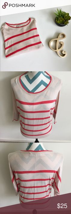 LOFT Sweater Like new cream and red stripped batwing sweater. Super soft and comfortable. Light and breezy material. Made with rayon and cotton. No flaws to note. LOFT Sweaters