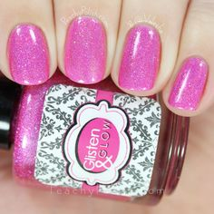 Glisten & Glow Pink Rock Candy | March 2016 The Holo Hookup | Peachy Polish