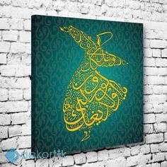 Yeşil Zemin Semazen Tablo I #dekoratif_kanvas_tablo