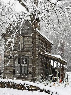 Cabins And Cottages: One can get warm twice here. Chopping the wood and then burning the wood. -Granpa Original article and pictures . Old Cabins, Log Cabin Homes, Cabins And Cottages, Barn Homes, Winter Cabin, Cozy Cabin, Snow Cabin, Cabin Chic, Cozy Winter