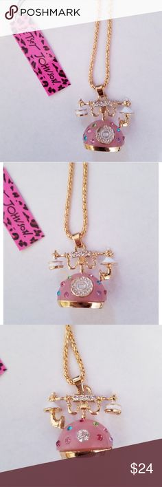 Betsey Johnson Pink Crystal Telephone Necklace Betsey Johnson Pink Crystal Telephone Necklace NWT Betsey Johnson Jewelry Necklaces