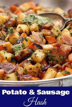 Sausage Potato Hash with Herb Dressing - a sausage hash using leftover cooked sausages with a fresh herb and mustard dressing. Take your sausage hash skillet to the next level, this is the winner of sausage potato hash dinners! Leftover Sausage Recipes, Sausage Meat Recipes, Sausage Recipes For Dinner, How To Cook Sausage, Leftovers Recipes, Recipes With Leftover Sausage, Devilled Sausages Recipes, Curried Sausages, Chicken Recipes