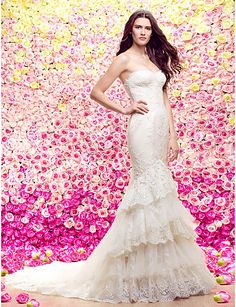$349.99 -  Trumpet / Mermaid Wedding Dress See-Through Court Train Sweetheart Lace Tulle with Appliques Tiered,Shop for cheap Wedding Dresses online? Buy at Chinathebox.com on sale today!