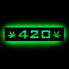 """Lighted 420 Pot Leaf Sign and Wall Art for Marijuana and Cannabis Fans - 21""""W x 5""""H"""