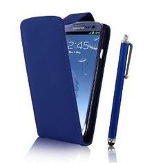 Samsung Galaxy S3 SIII Blue Leather Flip Case + Screen Protector & Stylus Pen