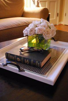 Coffee Table Tray Inspiration - very cute idea! picture frame w/drawer handles & some cool art or fabric in the frame!