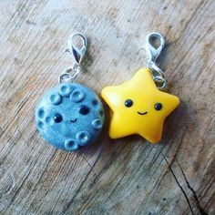 Planner charms Star and moon charm polymer clay by ClaytiveDesigns