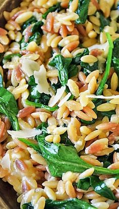 ORZO PASTA WITH SPINACH AND PARMESAN From Life Tastes Good is number 2 on our list :: Click HERE for the RECIPE Orzo Pasta with Spinach and Parmesan is an easy recipe using fresh ingredients to maximize flavor. It makes an impressive side dish, but if you want an easy all-in-one meal, just add chicken for a delicious dinner that's quick and easy any night of the week.