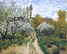 Trees in Bloom, 1872 by Claude Monet. Impressionism. landscape