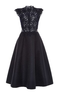 Guipure Lace Textured Jacquard A-Line Dress by Monique Lhuillier for Preorder on Moda Operandi