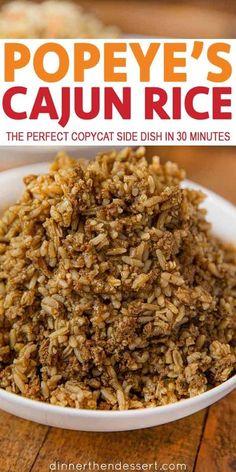 Popeye's Cajun Rice Copycat is a beefy boldly seasoned rice with cajun spices. T… Popeye's Cajun Rice Copycat is a beefy boldly seasoned rice with cajun spices. The perfect copycat recipe! Popeyes Cajun Rice Recipe, Dessert Sushi, Cajun Cooking, Cooking Recipes, Cajun Food, Donut Recipes, Cooking Tips, Gourmet, Recipes