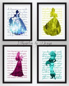These are super cute!! SALE 33 OFFDisney Princess Silhouette Art by EdmondsonbyDesign, $25.00