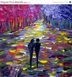 Black Friday Sale 40% off Original Oil Painting SPRING LILACS Trees Landscape Romance Impasto Modern Art. $35.40, via Etsy.