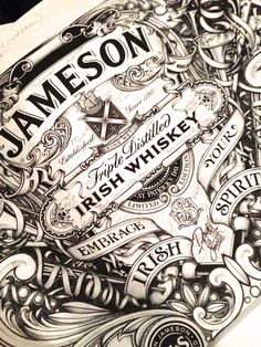 David Smith created label commissioned by Jameson Whiskey - limited edition etched bottle inspired by the intricate glass etching synonymous with great Dublin pubs.