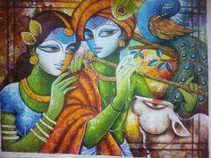 Krishna Painting, Krishna Art, Krishna Images, Radhe Krishna, Lord Krishna, Smoke Drawing, Meditation France, Composition Painting, Madhubani Art