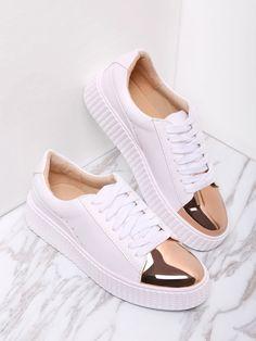 new style 5e266 de5c6 White Contrast Round Toe Rubber Sole Sneakers
