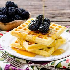 Cornmeal Buttermilk Waffles are like cornbread in waffle form.