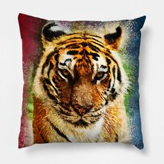 Exotic Bengal TIGER Abstract Watercolor artwork for the animal lovers - Tiger - Pillow | TeePublic