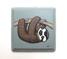Sloth  Original Wall Art Acrylic Painting on Wood by by kmwatkins, $60.00 https://www.etsy.com/listing/196740305/sloth-original-wall-art-acrylic-painting