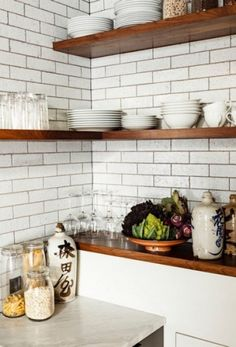Love the glazed brick tiles and walnut shelves. photos by lincoln barbour Loft Kitchen, Eclectic Kitchen, Kitchen Corner, Kitchen Shelves, Wood Shelves, New Kitchen, Walnut Shelves, Floating Shelves, Cupboards