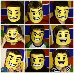 Love this idea! Eight year olds are getting too big for party hats but Lego masks? Now they're cool...