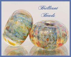 Blue & Amber Boro Glass BeadsBorosilicate Handmade by Gillianbeads, $6.50