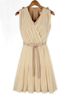 Apricot Sleeveless V Neck Belt Pleated Dress pictures