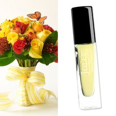 Summer gets a dose of fresh with a lemon chiffon crème called Lilou by Julep ($14; julep.com) paired with this playful monarch butterfly bouquet of bright yellow and red roses, tangerine ranunculus and lemon leaf greens by Prudence Designs (prudencedesignsnyc.com).