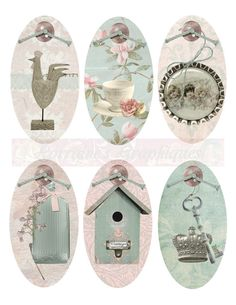 Shabby Chic Spring Oval Tags