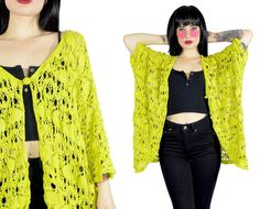 vintage betsey johnson jacket lime green crochet by AsIfStore