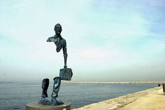 One of a series of statues called Les Voyageurs by Bruno Catalano . The statues were in Marseille, Bouches-du-Rhône department, Provence-Alpes-Côte d'Azur region, France, in