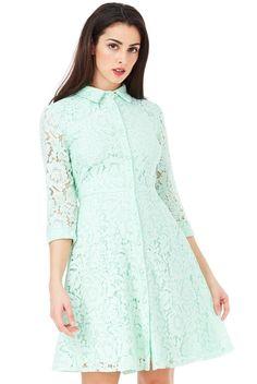 Anita φόρεμα πουκάμισο δαντελα σε παστέλ μέντα χρώμα High Neck Dress, Shirt Dress, Lace, How To Wear, Shirts, Dresses, Fashion, Turtleneck Dress, Vestidos
