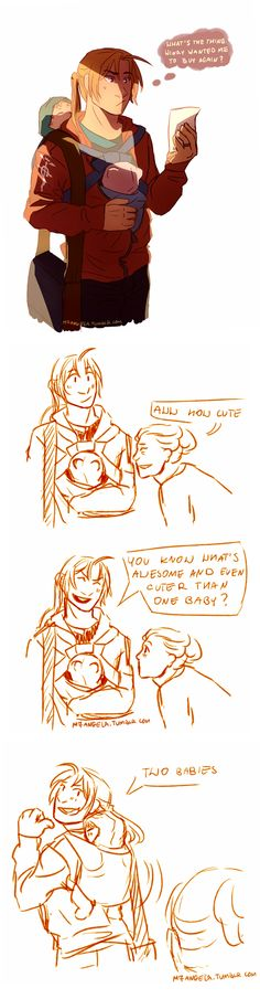 """You know what's awesome and even cuter than one baby?"" XD I love these fanart pieces of Ed's family! It's too cute!"