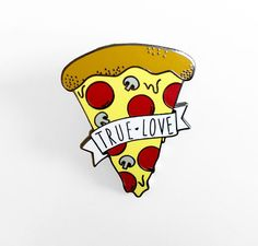 True Love Pizza pin  Choose between gold or black  The pin measures about 1.2 inch. (30mm)  - Please read my shipping and refund policies before purchasing.  - Shipping: All packages ship through USPS either First-Class Mail® or Priority Mail®. Tracking number provided with all U.S. orders.  - International: Please note, ALL international orders take anywhere from 2 to 8 weeks to arrive. It is not uncommon for it to take all 8 weeks. Please keep this in mind when ordering. Shipping upgrades…