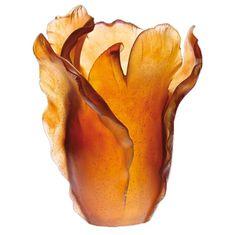 Tulipe Amber Vase | Gracious Style. A beautiful amber orange vase.