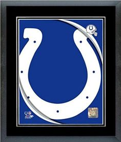 Indianapolis Colts Team Logo Framed With double black matting Ready To Hang- Awesome & Beautiful