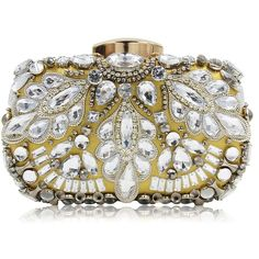 Women Casual Cocktail Evening Bag Clutch Purse With Clear Beaded... ($35) ❤ liked on Polyvore featuring bags, handbags, clutches, beaded evening bags, gold evening clutches, hand bags, evening handbags and gold evening bag