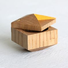 Pixie - faceted ring box made from reclaimed wood. $45.00, via Etsy.